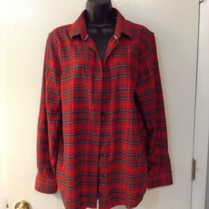 Lands' End Tops - Lands End 100% cotton womens 16 red/green tunic